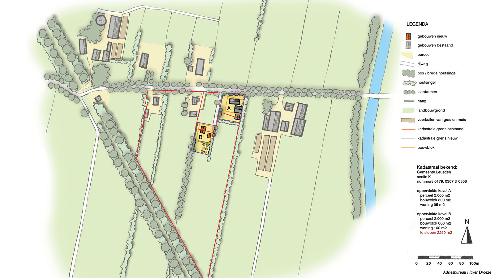 Plankaart nieuwe erfinrichting ten behoeve van bestemmingsplan